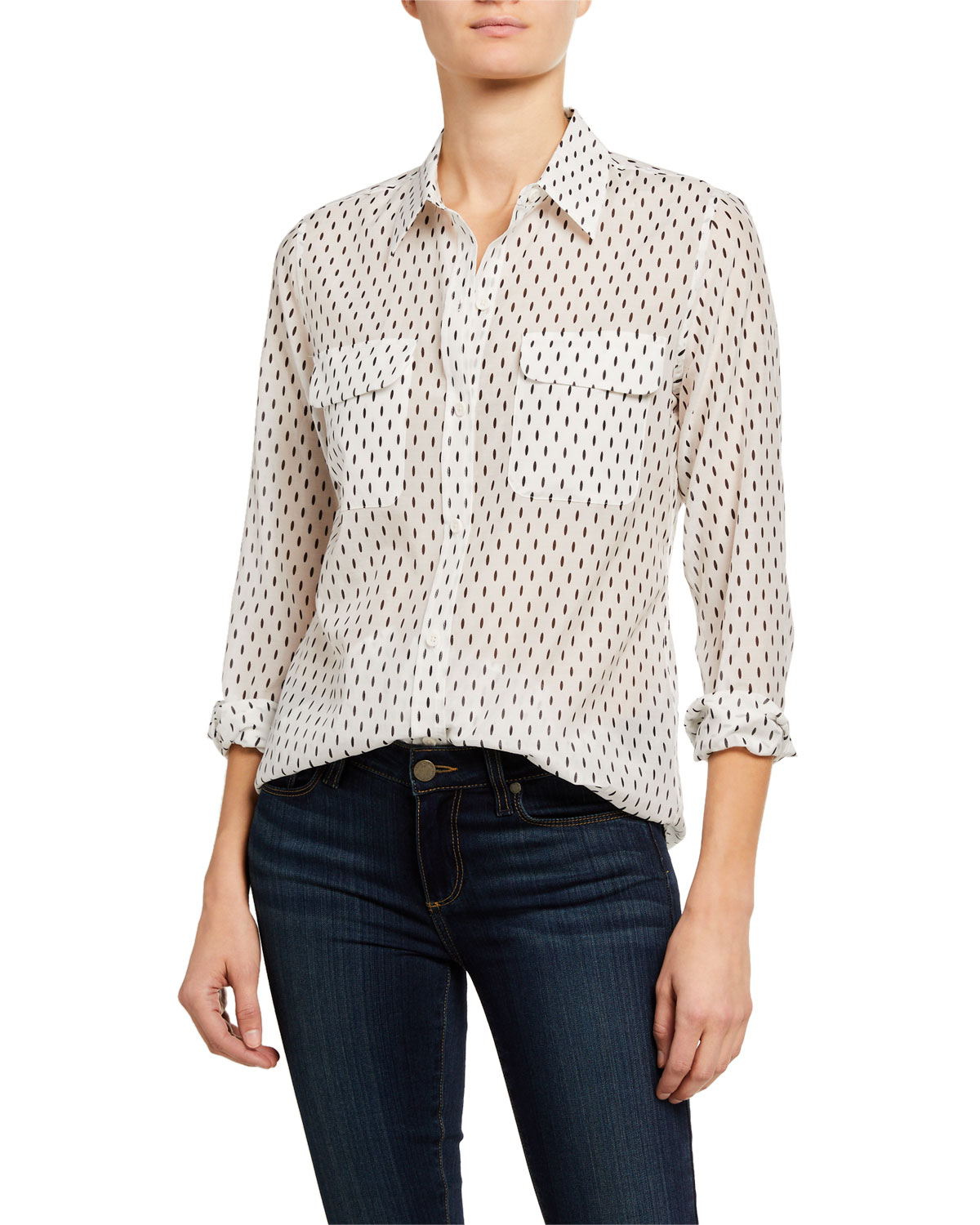 Equipment Slim Signature Dash-Print Long-Sleeve Button-Down Blouse