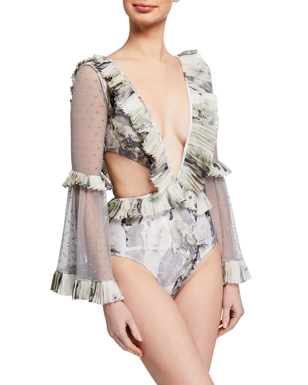 Agua de Coco Plunging Long-Sleeve Ruffle One-Piece Swimsuit