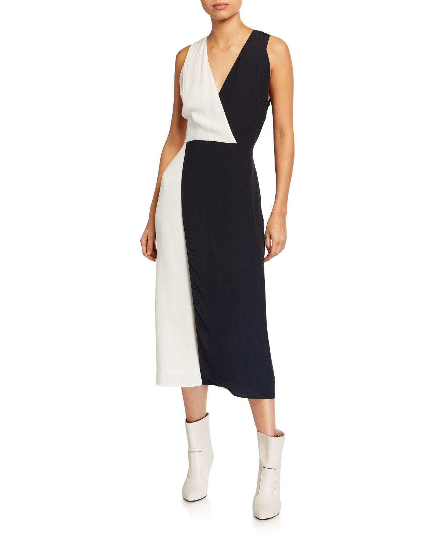 Equipment Galane Two-Tone Sleeveless Dress