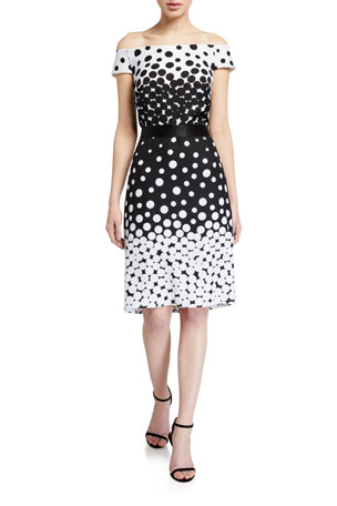 Tadashi Shoji Ombre Dot Off-the-Shoulder Sheath Dress