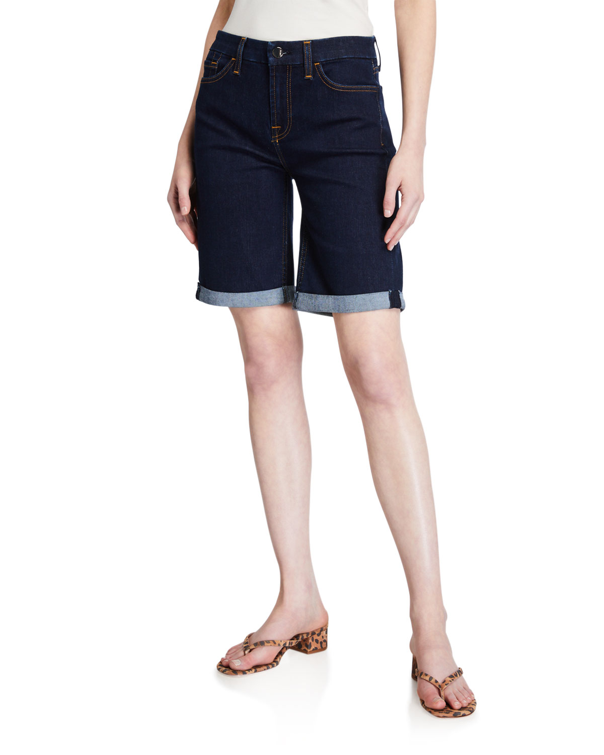 Jen7 by 7 for All Mankind Mid-Rise Bermuda Shorts