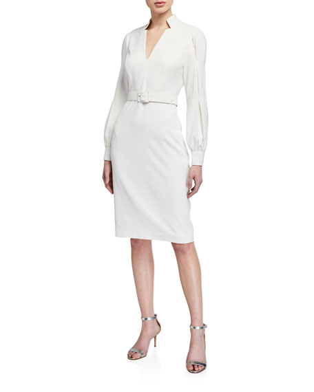 Badgley Mischka Collection Poet Long-Sleeve Notch-Neck Belted Dress