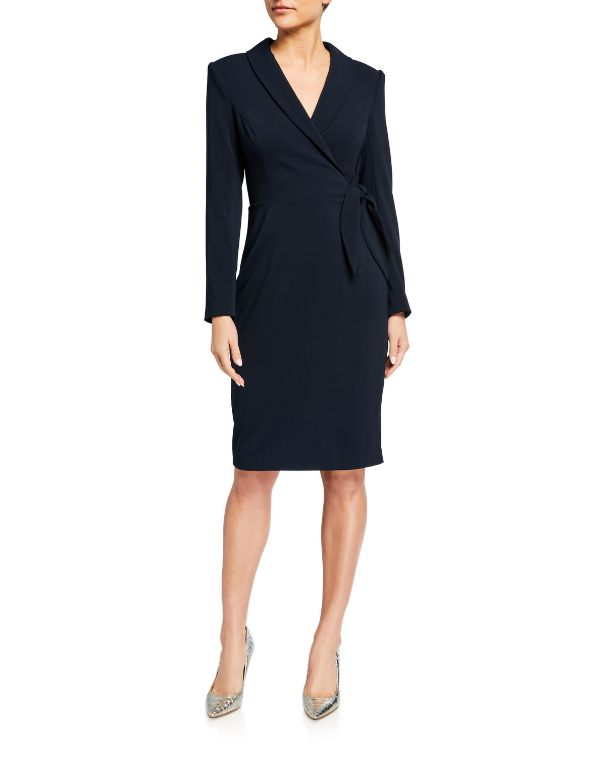 Badgley Mischka Collection Faux Wrap Tuxedo Dress
