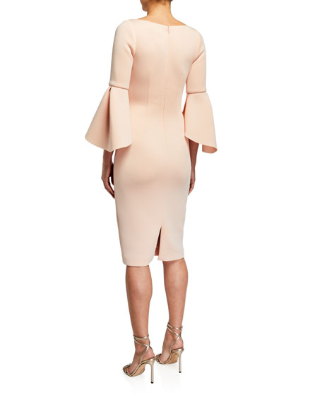 Image 2 of 2: Badgley Mischka Collection Tulip-Sleeve Stretch Crepe Dress