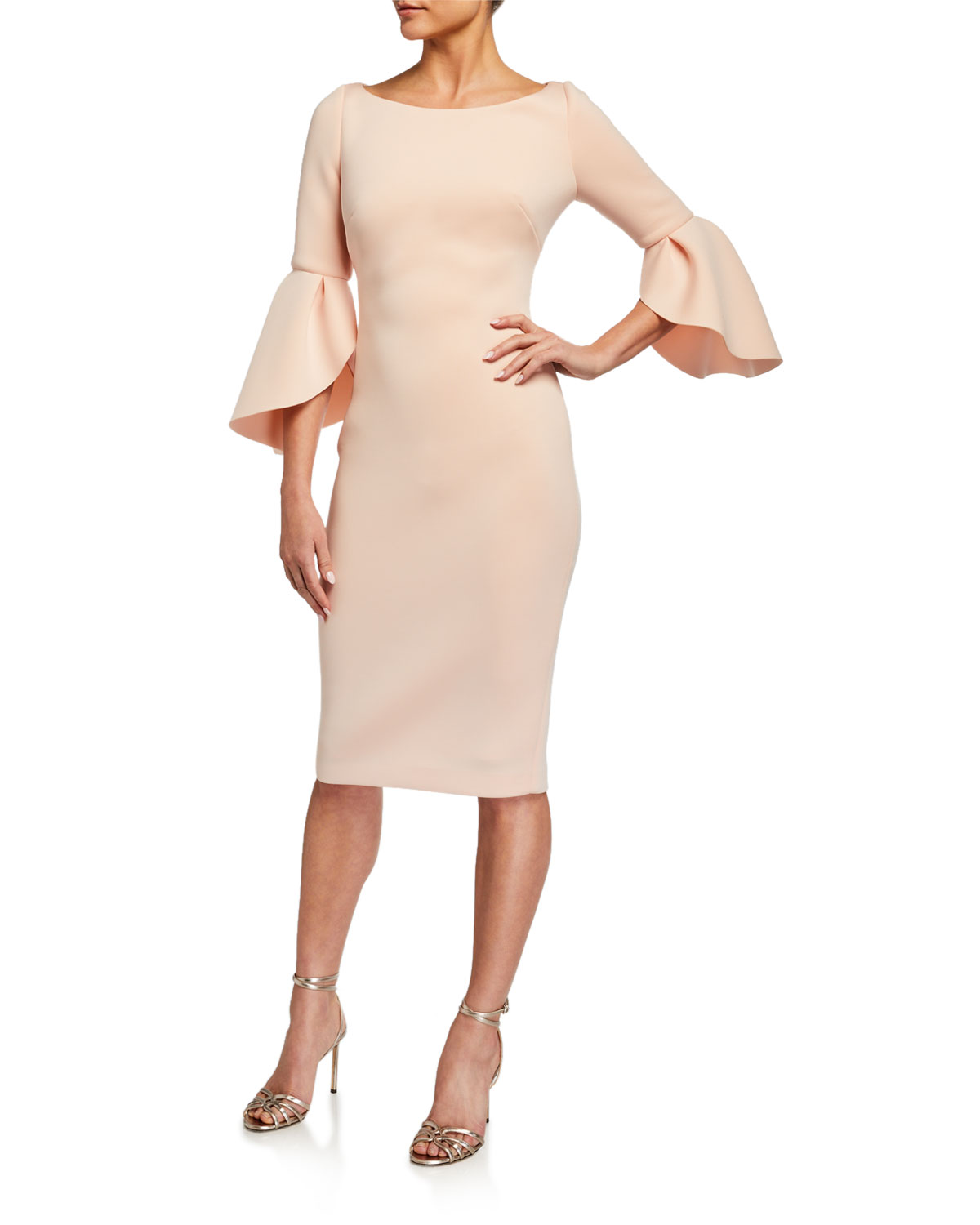 Badgley Mischka Collection Tulip-Sleeve Stretch Crepe Dress