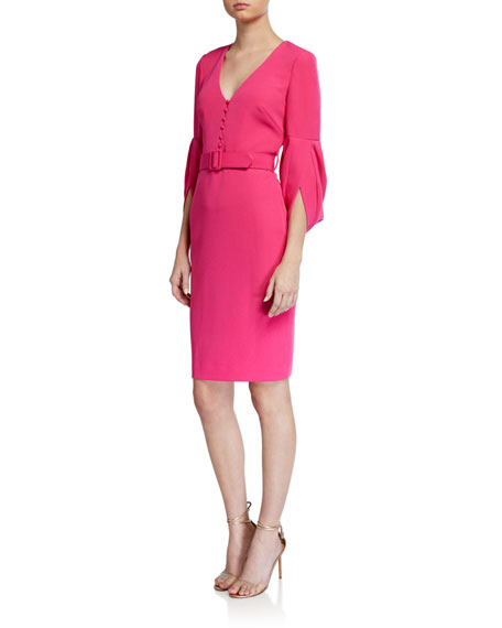 Badgley Mischka Collection V-Neck Tulip-Sleeve Belted Sheath Dress