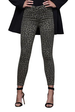 Good American Good Waist Leopard-Print Ankle Skinny Jeans - Inclusive Sizing