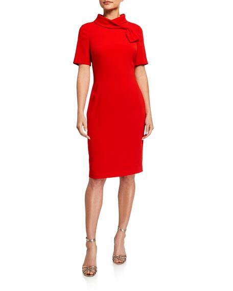 Badgley Mischka Collection Banded-Neck Short-Sleeve Sheath Dress