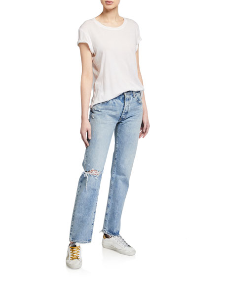 MOUSSY VINTAGE Hesperia Distressed Straight-Leg Jeans