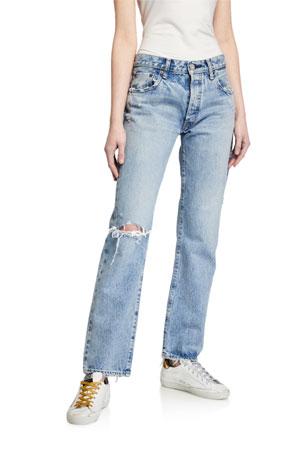 MOUSSY VINTAGE Hesperia Distressed Straight-Leg Jeans
