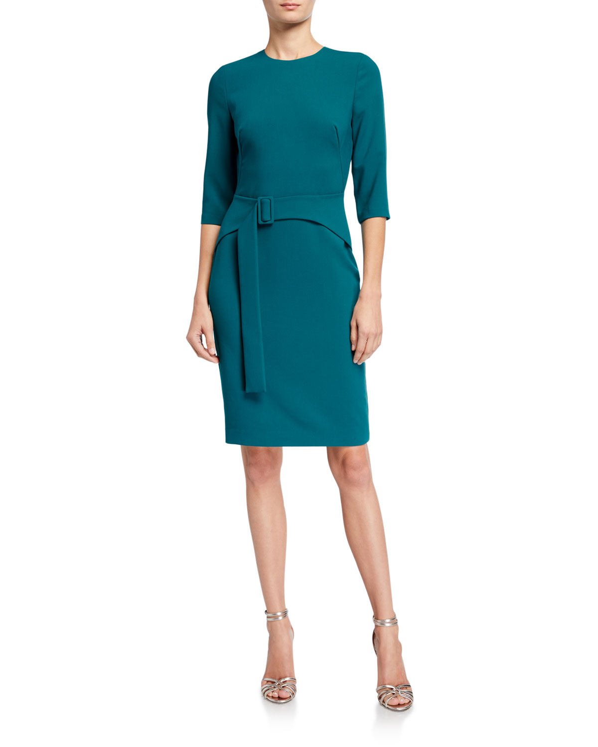 Black Halo Emma 3/4-Sleeve Ponte Sheath Dress
