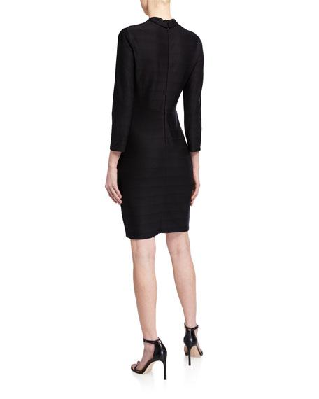 Shoshanna Delia Wide-Rib Stretch Knit Sheath Dress