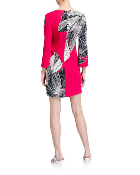 Trina Turk Journey Leaf-Printed Sheath Dress
