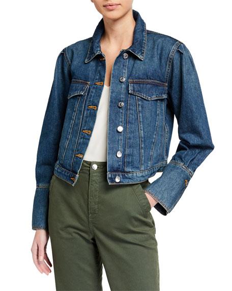 Veronica Beard Jeans Puff-Sleeve Denim Jacket