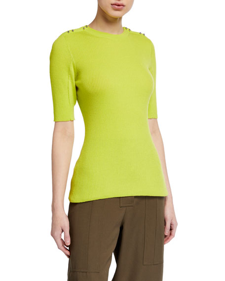 Image 1 of 2: 3.1 Phillip Lim Picot Stitch Top w/ Buttons
