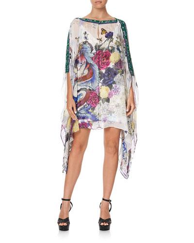 Chiffon Cape-Sleeve Mini Dress