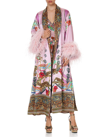 Image 2 of 5: Printed Silk Flared-Sleeve Robe w/ Ostrich Feathers