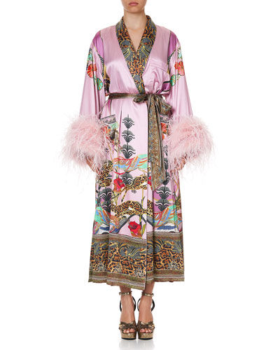 Printed Silk Flared-Sleeve Robe w/ Ostrich Feathers