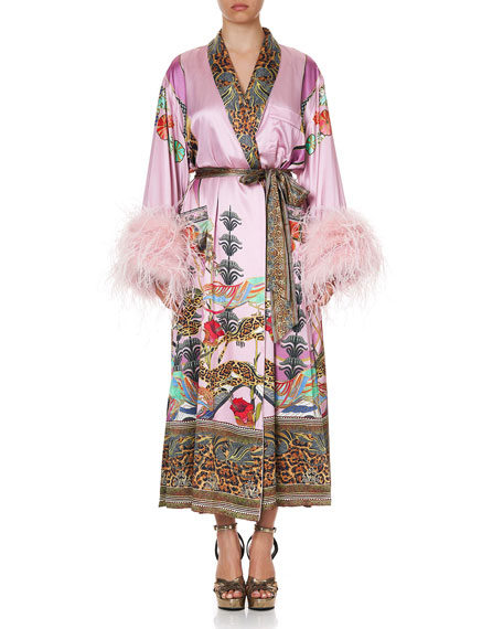 Image 1 of 5: Printed Silk Flared-Sleeve Robe w/ Ostrich Feathers