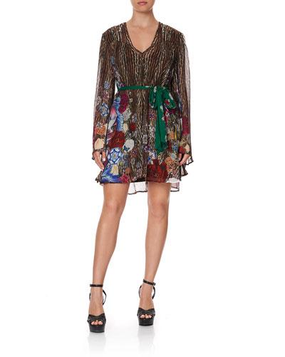 Animal Print Silk Bell-Sleeve Dress