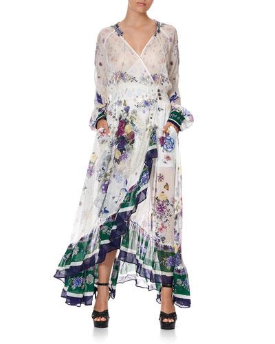 Floral Print Silk Chiffon Maxi Dress