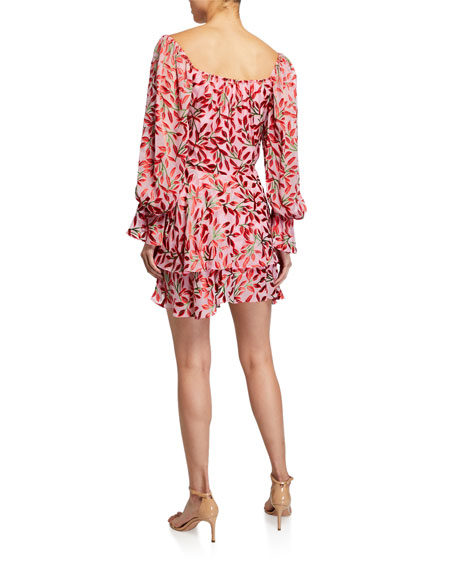 Alice + Olivia Debra Square-Neck Ruffle Dress