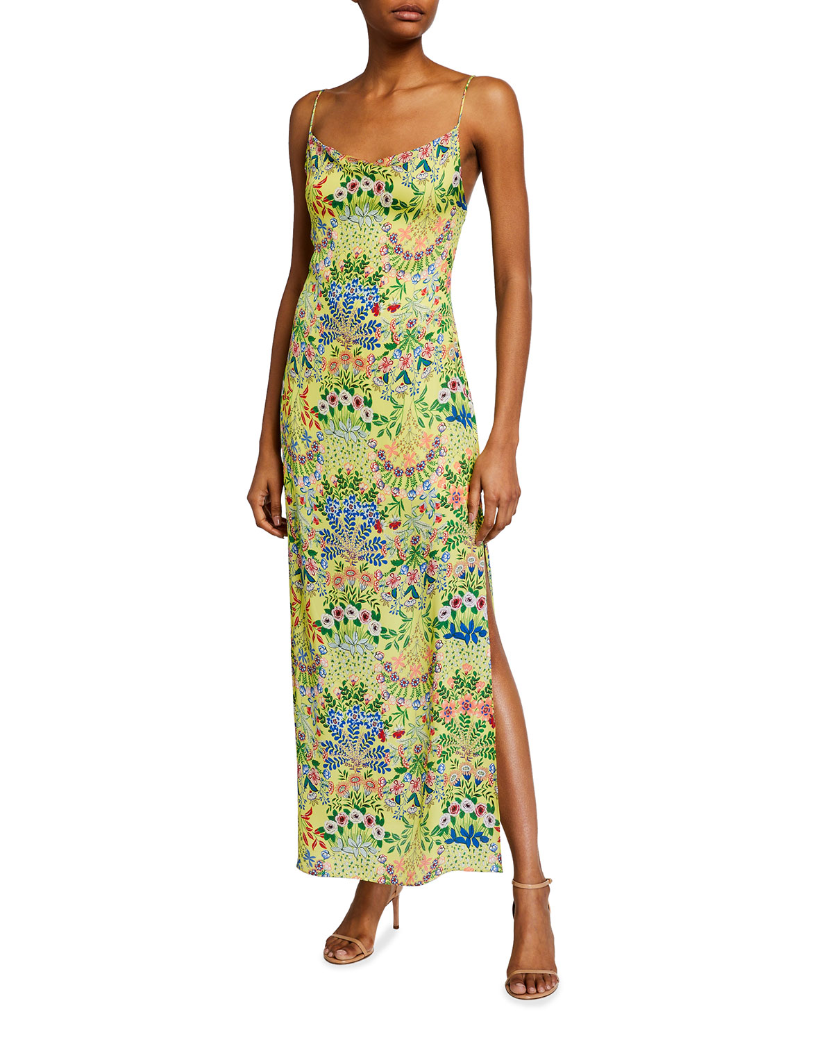 Alice + Olivia Harmony Drapey Slip Maxi Dress w/ Slit