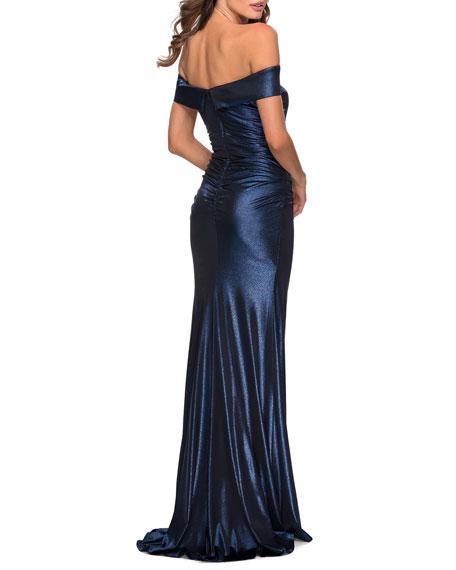 La Femme Off-the-Shoulder Shiny Jersey Gown