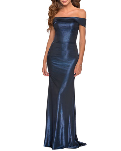 Off-the-Shoulder Shiny Jersey Gown