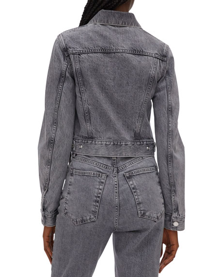 Image 3 of 4: Helmut Lang Fem Little Zip-Front Trucker Jacket