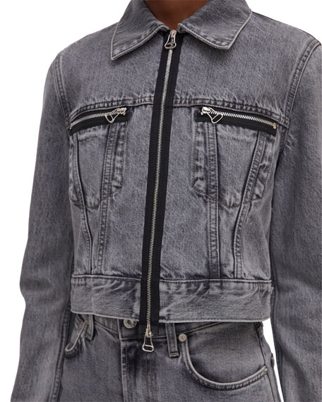 Image 4 of 4: Helmut Lang Fem Little Zip-Front Trucker Jacket