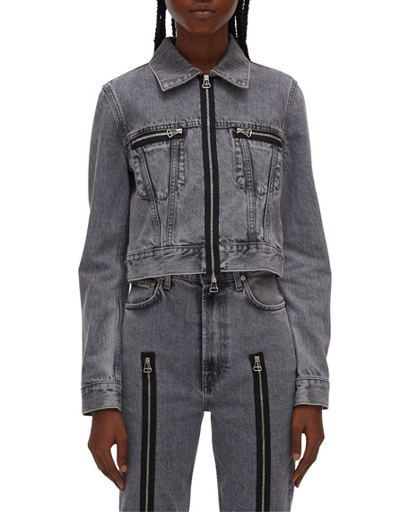 Image 1 of 4: Helmut Lang Fem Little Zip-Front Trucker Jacket