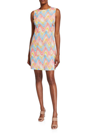 M Missoni Zig Zag Spray Paint Sleeveless Shift Dress