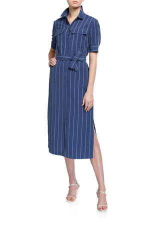 Lafayette 148 New York Doha Stately Stripe Short-Sleeve Shirtdress