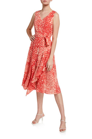 Lafayette 148 New York Telson Speckle Print Sleeveless Silk Dress