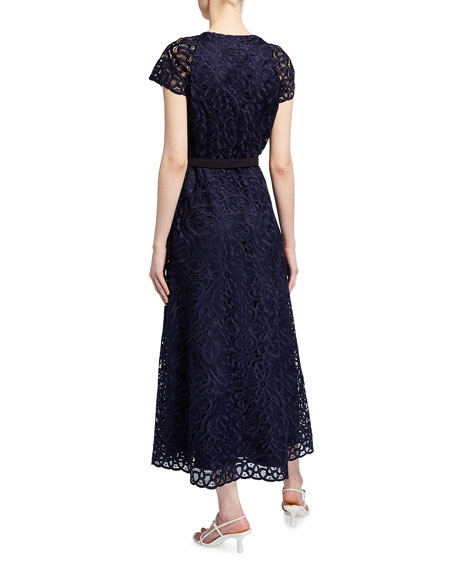 Lafayette 148 New York Daisy Vintage Floral Lace Cap-Sleeve Dress