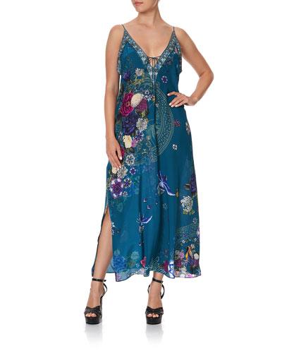 Printed V-Neck Dress w/ Ties