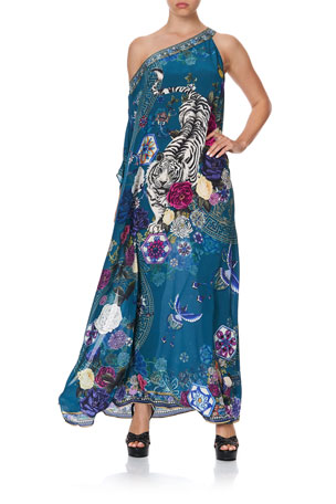 Camilla One-Shoulder Printed Kaftan w/ Neck Band