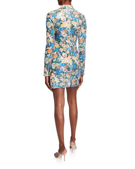 M Missoni Floral Paillette Long-Sleeve Mini Dress