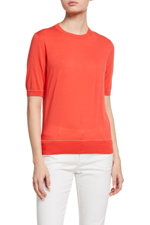 Lafayette 148 New York Crewneck Short-Sleeve Cotton Crepe T-Shirt