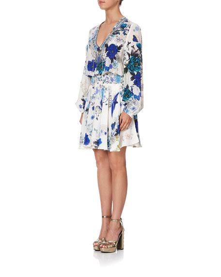 Camilla Shirred Long-Sleeve Short Dress