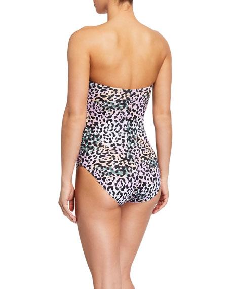 Veronica Beard Aniston Animal-Print Bandeau One-Piece Swimsuit