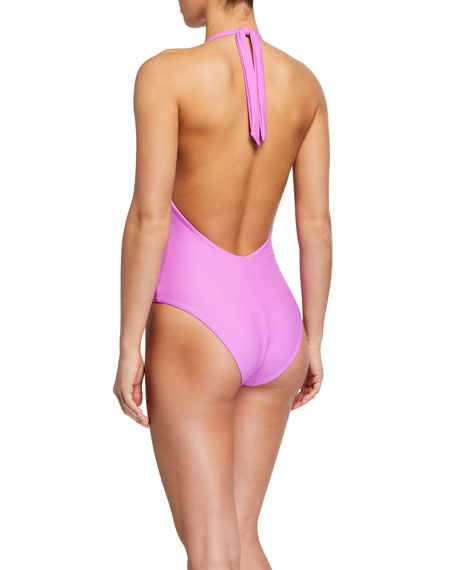 Veronica Beard Salis Plunging Halter One-Piece Swimsuit