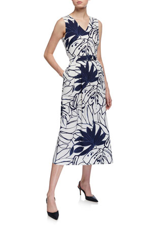 Lafayette 148 New York Vienna Porcelain Print Belted Midi Dress