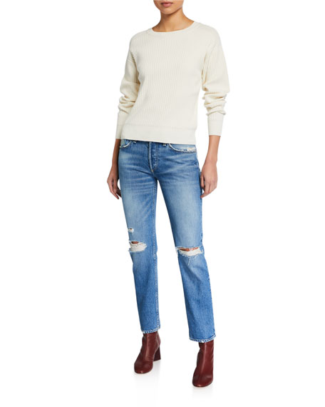 Image 3 of 3: Rag & Bone Rosa Mid-Rise Distressed Boyfriend Jeans
