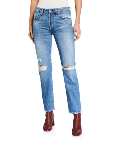 Image 1 of 3: Rag & Bone Rosa Mid-Rise Distressed Boyfriend Jeans
