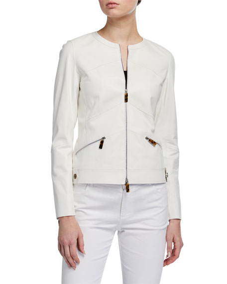 Image 2 of 3: Adeline Glove Lambskin Zip-Front Jacket