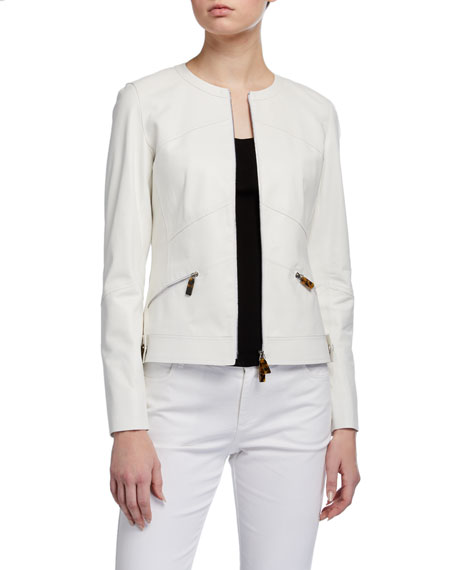 Image 1 of 3: Adeline Glove Lambskin Zip-Front Jacket