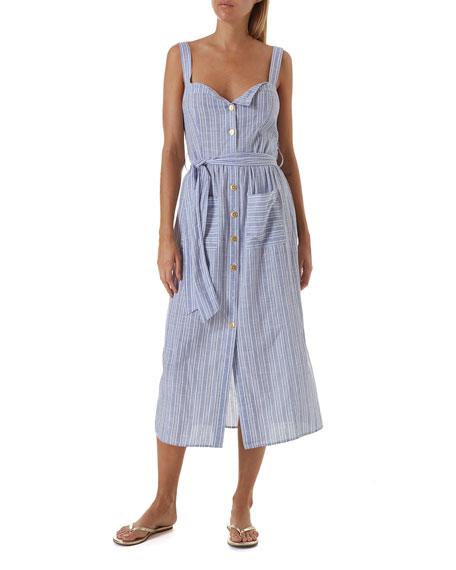 Melissa Odabash Celina Striped Button-Down Coverup Dress