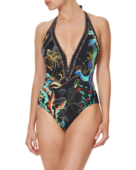 Camilla Plunge-Neck Halter One-Piece Swimsuit